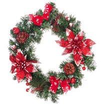 Изделие Декоративное Венок с Красными Пуансеттиями Диаметр 35 см Без Упаковки - Polite Crafts&Gifts