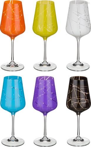 Набор бокалов для вина из 6 шт. САНДРА МИКС 450 мл .ВЫСОТА 24 см . - Crystalex