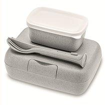 Набор из 2 ланч-боксов и столовых приборов Candy Ready Organic серый - Koziol