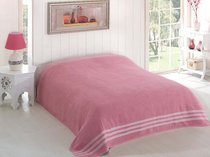 "Простыня махровая ""KARNA"" PETEK 200x220 см, цвет розовый - Bilge Tekstil"