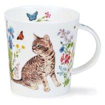 Кружка Dunoon Полосатый кот и цветы. Ломонд 320мл, фарфор - Dunoon