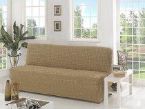 """Чехол для дивана """"KARNA"""" трехместный без подлокотников, без юбки, цвет бежевый - Bilge Tekstil"""