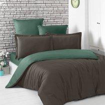 Постельное белье Karna Loft, двухстороннее, цвет зеленый/шоколадный, размер 1.5-спальный - Karna (Bilge Tekstil)