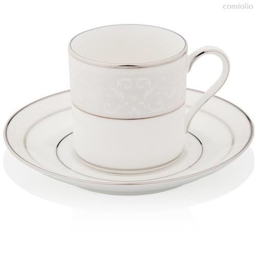 """Чашка кофейная с блюдцем 90мл """"Монтвейл, платиновый кант"""" - Noritake"""