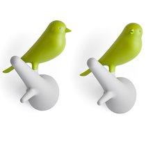 Вешалки настенные Sparrow 2 шт. белые-зеленые - Qualy