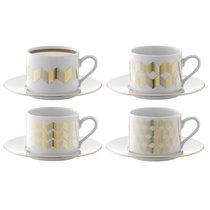 Набор из 4 чашек для чая с блюдцами Signature Chevron 250 мл, золото - LSA International