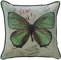"""Чехол для декоративной подушки """"Вальс бабочек"""", 45х45 см, P802-9243/1, цвет зеленый, 45x45 - Altali"""