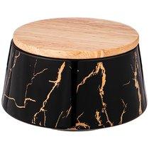 Банка с деревянной крышкой Lefard Fantasy 13,5x7,5 см 600 мл Черная - Towin Ceramics