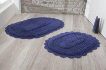 """Набор ковриков для ванной """"MODALIN"""" кружевной LOKAL 60x100 + 50x70 см 1/2, цвет синий, 50x70, 60x100 - Bilge Tekstil"""