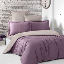Постельное белье Karna Loft, двухстороннее, цвет капучино/фиолетовый, 1.5-спальный - Bilge Tekstil