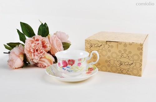 Чайная пара для завтрака Луговые маки акварелью 400 мл - Top Art Studio