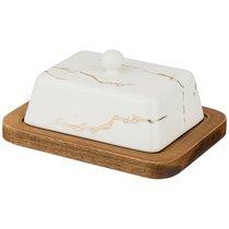 Масленка На Деревянной Подставке Коллекция Золотой Мрамор Цвет: White - Porcelain Manufacturing Factory