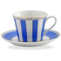"""Чашка чайная с блюдцем 240мл """"Карнавал"""" (синяя полоска) п/к, цвет синий - Noritake"""