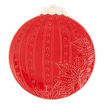 "Тарелка закусочная Bordallo Pinheiro ""Новогодние шары. Цветок"" 24,5см, бордовая - Bordallo Pinheiro"