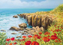 Подставки на пробке Побережье Нормандии 40х29 см(4шт) - Top Art Studio