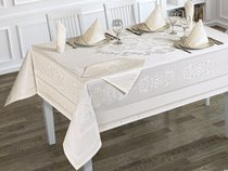 """Скатерть """"KARNA"""" жаккард пано c салфетками CARAMEL 160x300 см 1/8, цвет кремовый - Bilge Tekstil"""