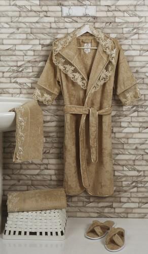 "Набор халатов бамбук""ALTINBASAK"" MARGARETE EXC (Бежевый), размер M - Altinbasak Tekstil"