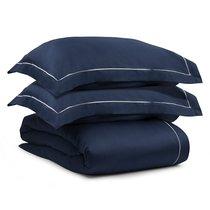Комплект постельного белья без простыни из египетского хлопка Essential, темно-синий, полутороспальн, цвет темно-синий, 1.5-спальный - Tkano