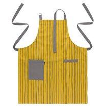 Фартук из хлопка горчичного цвета с принтом Полоски из коллекции Prairie, 85х70 см - Tkano