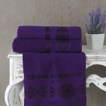Полотенце махровое Karna Rebeka, цвет фиолетовый, 70x140 - Karna (Bilge Tekstil)