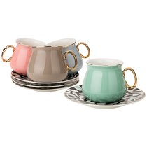Чайный Набор На 4Пер. 8Пр. 220Мл, 4 Цвета: Серый, Кофейный, Розовый, Мятный - Rongshengyuan