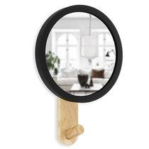 Зеркало-вешалка Hub черное/дерево - Umbra