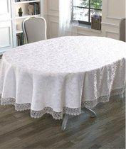 """Скатерть """"KARNA"""" KDK с гипюром овальная 160х220 см, цвет белый - Bilge Tekstil"""