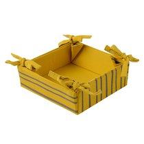 Корзинка для хлеба из хлопка горчичного цвета с принтом Полоски из коллекции Prairie, 30х30 см - Tkano