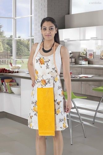 Фартук кухонный Karna с салфеткой 30x50, цвет желтый - Karna (Bilge Tekstil)