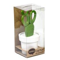 Ножницы Cactus с держателем, белые с зеленым - Qualy