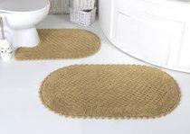 "Набор ковриков для ванной ""MODALIN"" кружевной PRIOR 60x100 + 50x70 см 1/2, цвет бежевый, 50x70, 60x100 - Bilge Tekstil"