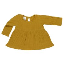 Платье с длинным рукавом из хлопкового муслина горчичного цвета из коллекции Essential 12-18M - Tkano