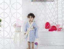 """Халат детский с велюром """"KARNA"""" с капюшоном SNOP (6-7 Лет), цвет голубой - Bilge Tekstil"""