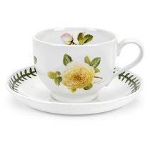 """Чашка чайная с блюдцем Portmeirion """"Ботанический сад.Розы. Джорджия жёлтая роза"""" 200мл - Portmeirion"""