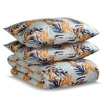 Комплект постельного белья полутораспальный из сатина цвета шафрана с принтом Leaves из коллекции Wi - Tkano