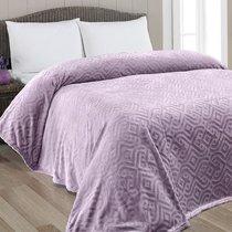 "Плед KARNA вельсофт жаккард ""GIZA"" 220x240 см, цвет фиолетовый, 220 x 240 - Bilge Tekstil"