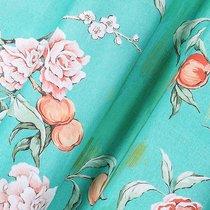 Ткань хлопок Японская роза ширина 220 см/ 2184/1, цвет бирюзовый - Altali