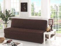 """Чехол для дивана """"KARNA"""" трехместный без подлокотников, без юбки, цвет коричневый - Bilge Tekstil"""