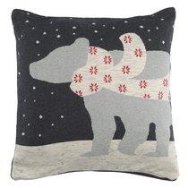 Чехол на подушку вязаный с новогодним рисунком Polar bear из коллекции New Year Essential, 45х45 см, 45x45 - Tkano