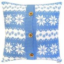"Вязаный чехол для подушки ""Лапландия"", 43х43 см,02-V9790/3, цвет голубой, 43x43 - Altali"