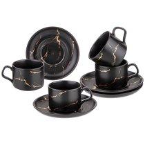 Чайный Набор На 4 Персоны Коллекция Золотой Мрамор Объем Чашки 250 мл Цвет:Black - Porcelain Manufacturing Factory
