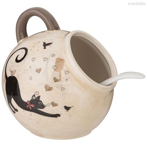 Солонка С Ложкой Парижские Коты 9,5x9,5 см Высота 10 см / 170 мл - Huachen Ceramics