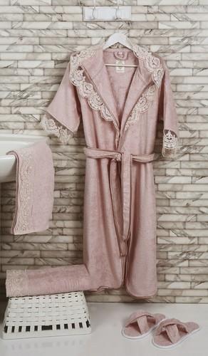 "Набор халатов бамбук""ALTINBASAK"" MARGARETE EXC (Пудра), размер M - Altinbasak Tekstil"
