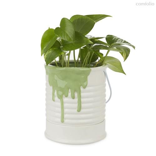 Кашпо керамическое для цветов Painty зеленое 18см, цвет зеленый - Balvi