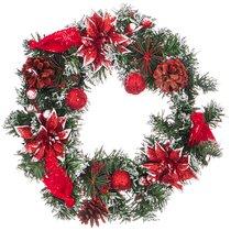 Изделие Декоративное Венок с Красными Пуансеттиями Диаметр 30 Cm - Polite Crafts&Gifts