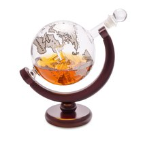 Декантер для виски с деревянной подставкой Globe 0.8л, цвет прозрачный - Balvi