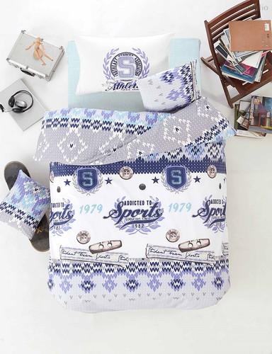 Постельное белье Ranforce Athletik, цвет голубой, размер 1.5-спальный - Altinbasak Tekstil