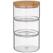Емкость для сыпучих agness native, 3 секции, диаметр 11 см, высота 20,5 см боросиликатное стекло - Agness