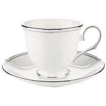 """Чашка чайная с блюдцем 180мл """"Федеральный, платиновый кант"""", цвет белый/серебряный - Lenox"""