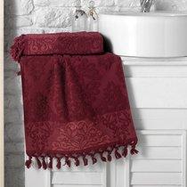 """Полотенце махровое """"KARNA"""" жаккард с бахромой OTTOMAN 70x140 1/1, цвет бордовый, 70x140 - Bilge Tekstil"""